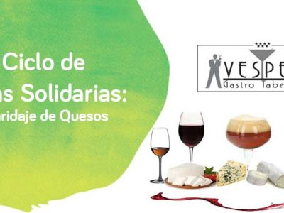 Cartel de maridaje de quesos y vinos para la cata solidaria de Down Madrid