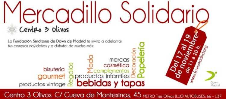 Cartel de mercadillo solidario de Down Madrid