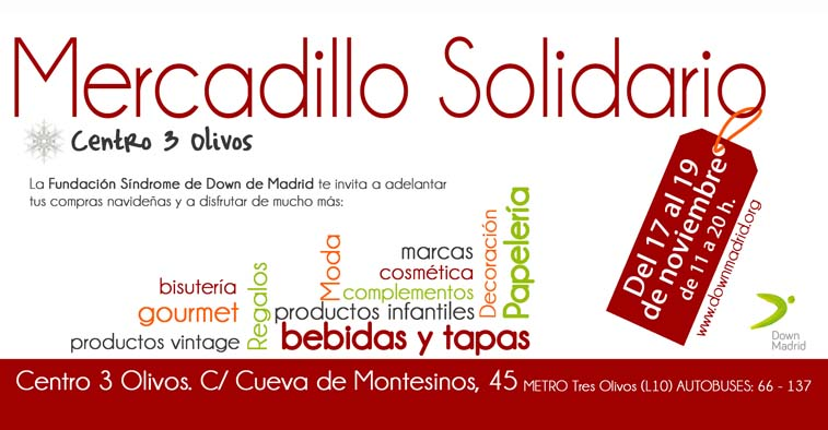 Cartel de mercadillo solidario de Down Madrid