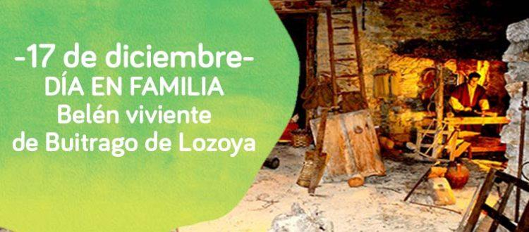 Cartel del día en familia de Down Madrid a ver el belen viviente de Buitrago de Lozoya
